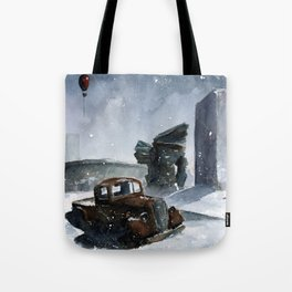 An old truck in snow Tote Bag