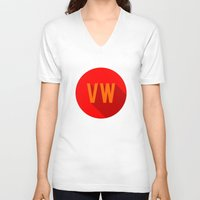 vw V-neck T-shirts featuring VW by Barbo's Art