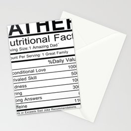 Father Nutritional Facts Stationery Cards