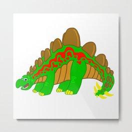 Stegosaurus Dinosaur on a stroll! Metal Print