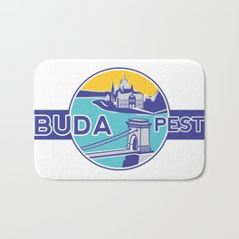 Budapest, Chain Bridge, sticker, blue, yellow Bath Mat
