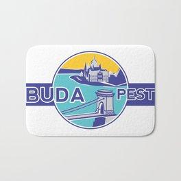 Budapest, Chain Bridge, sticker, blue, yellow Bath Mat