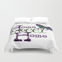 home sweet home Duvet Covers featuring Home Sweet Home by CatDesignz