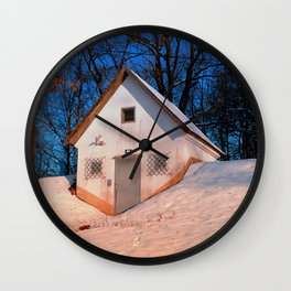Small cottage in winter wonderland | architectural photography Wall Clock