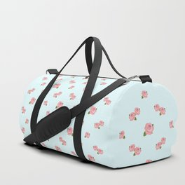 Pink Roses Repeat Pattern on Lt Blue Duffle Bag
