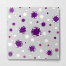 Star Burst Galaxy - Purple Grey White Metal Print
