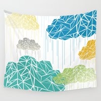 lara croft Wall Tapestries featuring Rainy Day by ARCHIGRAF