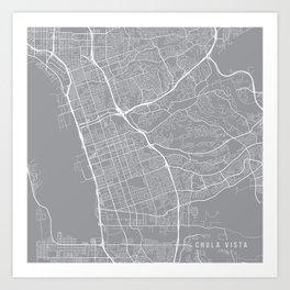 Chula Vista Map, California USA - Pewter Art Print