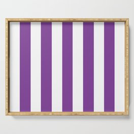 Cadmium violet - solid color - white vertical lines pattern Serving Tray