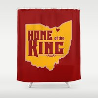 lebron Shower Curtains featuring Home of the King (Red) by Denise Zavagno