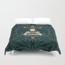 Yule Log Lady (in Green) Duvet Cover