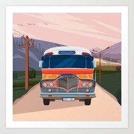 Retro Bus Art Print