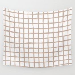 Strokes Grid - Nude on Off White Wall Tapestry