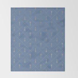 Elegant Gold Fork Trident Pattern Throw Blanket