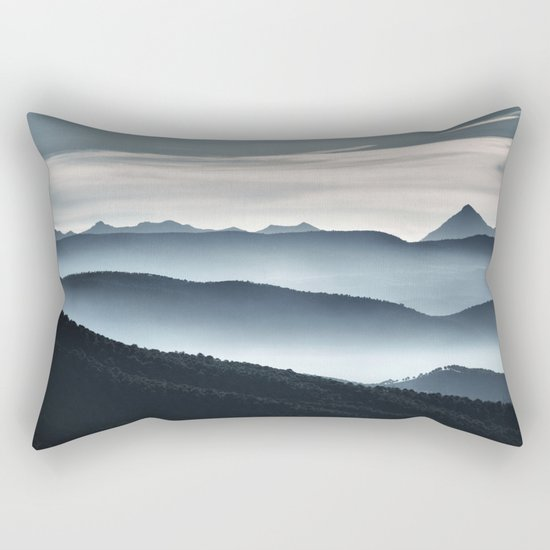 """Misty mountains"". Blue hour Rectangular Pillow"