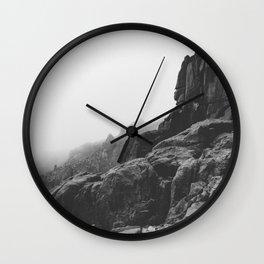 Rugged South Cornish Coast in sea mist. Wall Clock