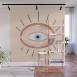 Retro evil eye - neutrals Wall Mural