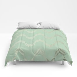 Simply Deconstructed Chevron in White Gold Sands and Pastel Cactus Green Comforters