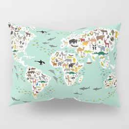 Cartoon animal world map for children, kids, Animals from all over the world, back to school, mint Pillow Sham