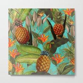 Vintage & Shabby Chic - Pineapple Tropical Garden Metal Print