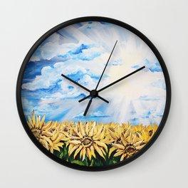 SHERRY Sunflower Field Wall Clock