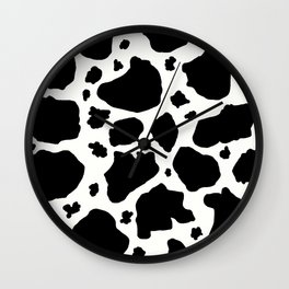 black and white animal print cow spots Wall Clock