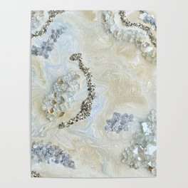 Neutral Glam Abstract Agate Geode Crystal Painting Poster