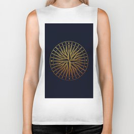 The golden compass- maritime print with gold ornament Biker Tank