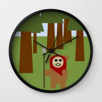 ewok Wall Clocks featuring Wicket the Ewok- Tree Hugger by Robin Stevens