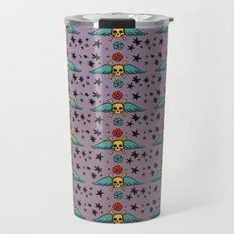 Pastel Skull & Wing Pattern Travel Mug