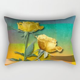 Gold Roses & Colorful Abstract Rectangular Pillow