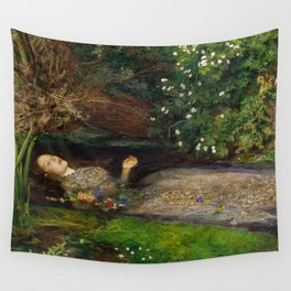 Ophelia from Hamlet Oil Painting by Sir John Everett Millais Wall Tapestry