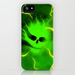 Green charged gas skull iPhone Case