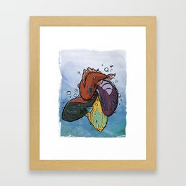 Kiss Fish Framed Art Print