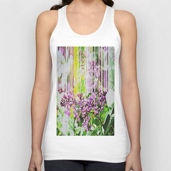 White Washed Painted Lilac Unisex Tank Top
