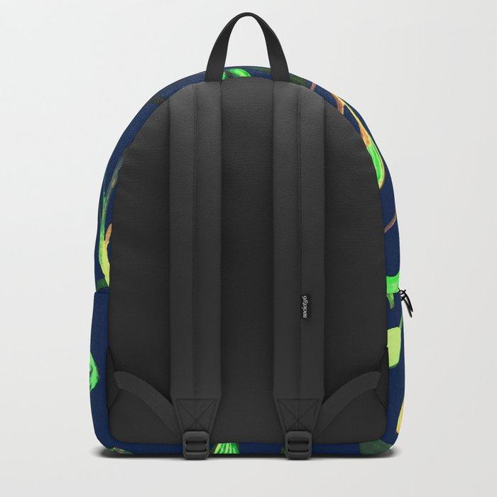 Greenery Spring leaves on Navy Blue Backpack