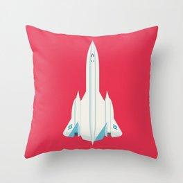 SR-71 Blackbird Supersonic Jet Aircraft - Crimson Throw Pillow