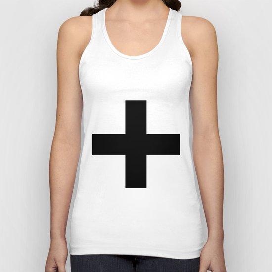 Black Plus on White /// www.pencilmeinstationery.com Unisex Tank Top