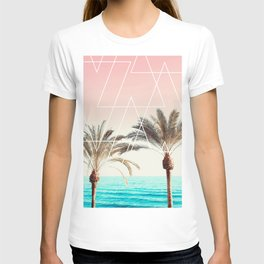 Modern tropical palm tree sunset pink blue beach photography white geometric triangles T-shirt