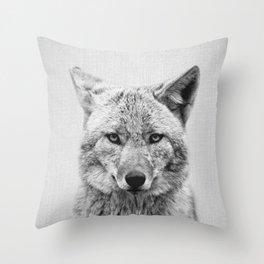 Coyote - Black & White Throw Pillow