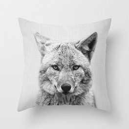 Coyote - Black & White Throw Pillow