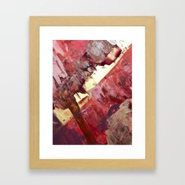 Desert Sun: A bright, bold, colorful abstract piece in warm gold, red, yellow, purple and blue Framed Art Print