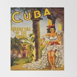 Cuba Holiday Isle of the Tropics Throw Blanket