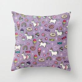 Purple Unicorns & Sweet Daydreams, Little Girls Decor, Bright, Sweets Throw Pillow