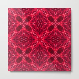 Abstract Geometric Light Factual Bright Red Metal Print
