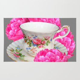 FLORAL TEA CUP & PEONY FLOWERS YELLOW ART Rug