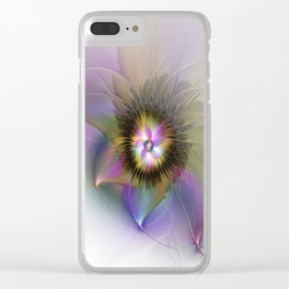 Abstract Flower, Colorful Fantasy Fractal Art Clear iPhone Case