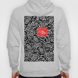 Red Rose Amidst Black Hoody