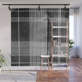 Stitched Plaid in Black and White Wall Mural