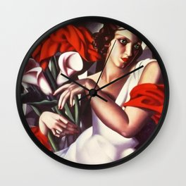 Classical Masterpiece 'Portrait D'ira' by Tamara de Lempicka Wall Clock